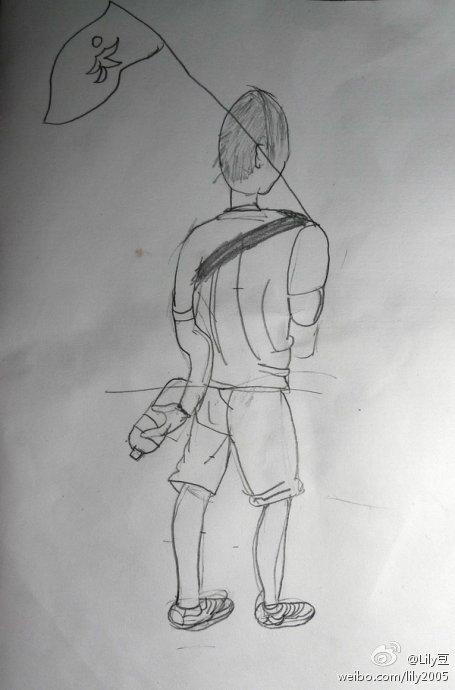 铅笔手绘长美女背影图片